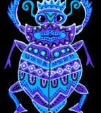 Schilderend, lilac kever met ornamenten wordt geschilderd dat royalty-vrije illustratie