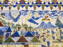 Schilderend op de muur van de kerk in de tempel, verhaalabou royalty-vrije illustratie