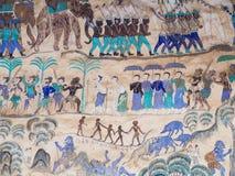 Schilderend op de muur van de kerk in de tempel, verhaalabou vector illustratie
