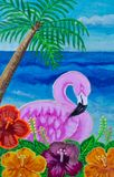 Schilderend, roze flamingo in hibiscus stock foto's