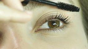 Schilderend wimpers met mascara, past het meisje karkas op wimpers toe, opmaakt, close-upogen, schoonheidssalon stock footage