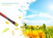 Schilderend zonnebloemlandschap Royalty-vrije Stock Foto