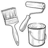 Schilderende apparatuur tekening vector illustratie