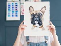 Schilderende de waterverftekening van het hobby listige talent royalty-vrije stock fotografie