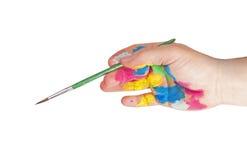 Schilderende hand Stock Foto's