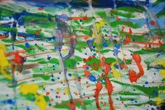 Schilderende kleurrijke wasachtige waterverf abstracte achtergrond Stock Afbeelding
