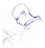 Schilderende mens - schets Stock Afbeelding