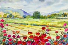 Schilderende rozencornfield en berg van emotie op de achtergrond van de hemelwolk stock illustratie