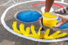 schilderende speelplaats stock afbeeldingen
