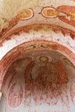 Schilderijen in de Oude Kerk van de Rots in Cappadocia, Turkije Stock Foto