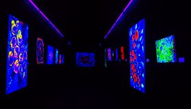 Schilderijen met Fluorescente Kleuren slechts Zichtbaar met Zwart Licht of Ultraviolet Licht Stock Afbeeldingen