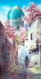 Schilderijen van de oude oostelijke stad vector illustratie