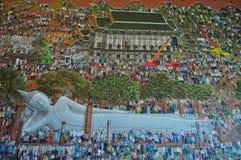 Schilderijen van het standbeeld van Boedha in Wat Khun Inthapramun, Thailand Royalty-vrije Stock Afbeeldingen