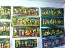 Schilderijen van Mughal-Era op Muur stock foto's