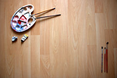 Schilders` s werkruimte Stock Foto