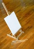 Schildersezel met blanccanvas Stock Fotografie