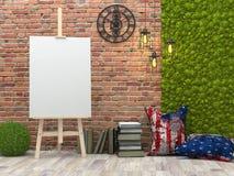Schildersezel met leeg wit canvas in het zolderbinnenland royalty-vrije illustratie