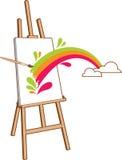 Schildersezel met regenboog Royalty-vrije Stock Afbeeldingen