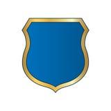 Schildgoldblaues Ikonen-Formemblem Stockfotos