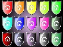 Schildikone mit Haus Stockbilder
