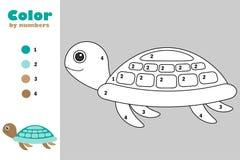 Schildkröte in der Karikaturart, Farbe durch Zahl, Ausbildungspapierspiel für die Entwicklung von Kindern, Färbungsseite, Kinderv lizenzfreie abbildung