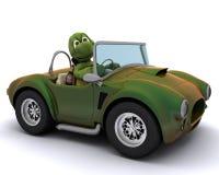 Schildkröte, die ein Auto antreibt Lizenzfreie Stockfotos