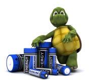 Schildkröte mit Batterien Stockbild