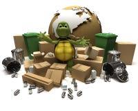 Schildkröte mit einem Abfall und einem Abfall vektor abbildung