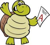Schildkröte mit einer Kennzeichenkarikaturillustration Lizenzfreie Stockfotografie