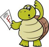 Schildkröte mit f-Kennzeichenkarikaturillustration Stockfoto