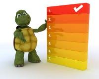 Schildkröte mit a, zum der Liste zu tun Stockbild