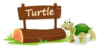 Schildkröte und Namensschild Stockfotos