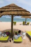 Schildkröten-Bucht-Strand Cabanas auf Oahu Hawaii Lizenzfreies Stockbild