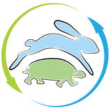 Schildkröten-Hase-Rennzyklus Stockfoto