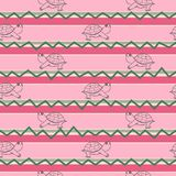 Schildkrötenillustrationsmuster Muster in der dekorativen Gekritzelart Stockfotografie