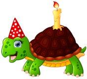 Schildkrötenkarikatur, die Geburtstag feiert Lizenzfreies Stockfoto