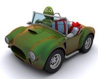 Schildkröte, die ein Auto mit Geschenken antreibt Stockfotografie