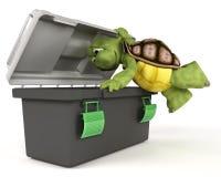 Schildkröte mit Werkzeugkasten Stockfotografie
