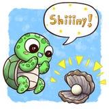 """Schildpad die oester met parel†vinden """"vierkante grootte met toespraakbel en waterverfachtergrond stock illustratie"""