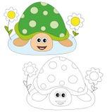 Schildpad en bloemen Royalty-vrije Stock Afbeeldingen