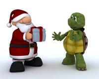 Schildpad en de Kerstman Stock Afbeeldingen
