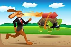 Schildpad en hazen het rennen royalty-vrije illustratie