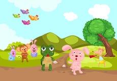 Schildpad en konijn het rennen Royalty-vrije Stock Afbeelding