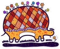 Schildpad met Bloemen Stock Afbeelding
