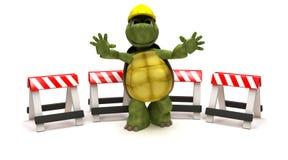 Schildpad met een gevaarbarrières Stock Afbeeldingen