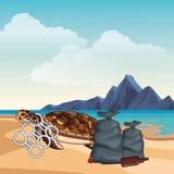 Schildpad met een sixpack plastic ringen die wordt geplakt stock illustratie