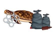 Schildpad met een sixpack plastic ringen die wordt geplakt royalty-vrije illustratie