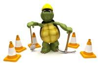 Schildpad met een spade en oogstbijl Stock Foto's