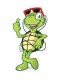 Schildpad met Oortelefoon Stock Foto