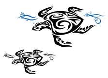 Schildpad in oceaanwater vector illustratie